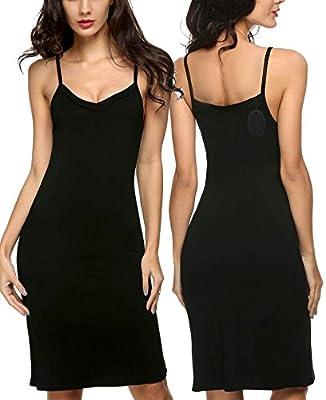 Imposes Women's Full Slip, Cotton Blend Spaghetti Straps Long Cami Dress Nightwear