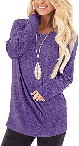 WNEEDU Women's Casual Long Sleeve Round Neck Loose Tunic T Shirt Blouse Tops