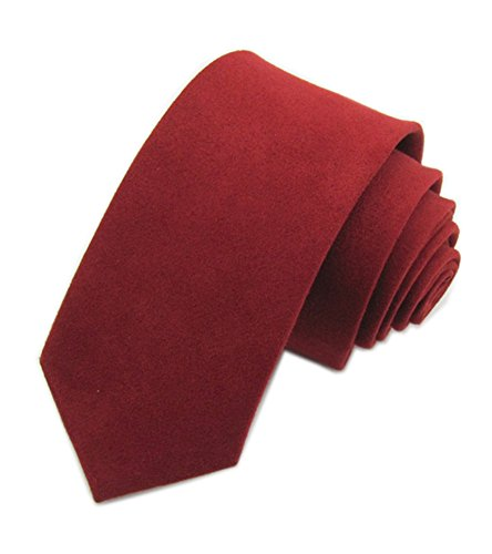 Men's Skinny Hot Cherry Red Silk Tie Summer Italian Necktie Valentine's Day Gift