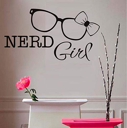hwhz 44X24 cm Nerd Girl Wall Stickers Glasses Bow Tie Wall Decals Removable Vinyl Art Decal Home Decor for Girl -