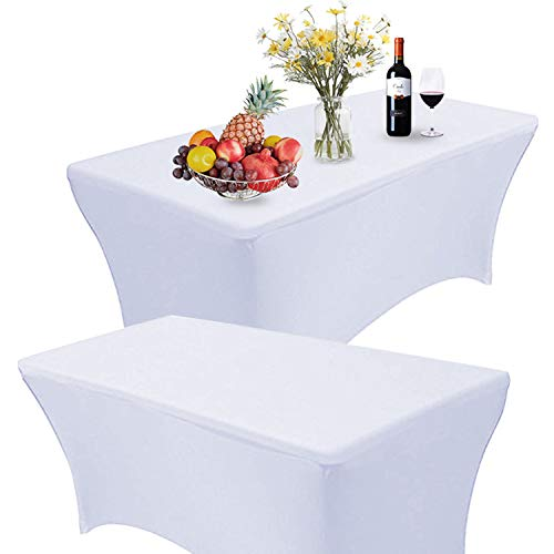 RELIANCER 2 Pack 6FT Rectangular Spandex Table Cover Four-Way Tight Fitted Stretch Tablecloth Table Cloth for Outdoor Party DJ Tradeshow Banquet Vendor Wedding Celebration (2PC 6FT, White)