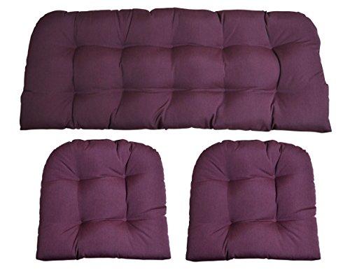 (RSH Decor Sunbrella Canvas Iris Purple 3 Piece Wicker Cushion Set - Indoor/Outdoor Wicker Loveseat Settee & 2 Matching Chair)