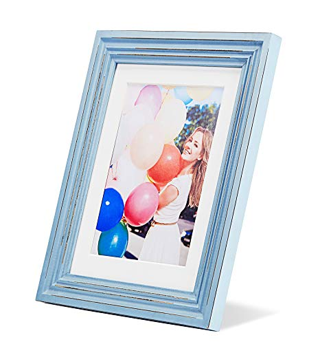 ZingVic 8x10 Soft Blue Wood Picture Frame with Real Glass Front - Layering Shadow Design - with Mat for 6x8 or Without Mat for 8 by 10 - Wide Molding - Table Desk Top Standing or Wall Hanging
