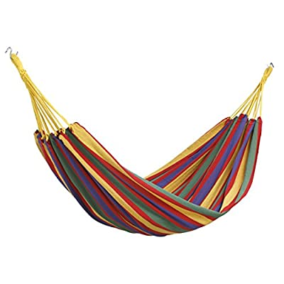 "VonHaus Outdoor Portable 2 Person Cotton Double Brazilian Hammock with Travel Bag - Ideal for Backyard, Porch, Camping, Outdoor and Indoor Use - Lightweight, compact and comfortable double Brazilian hammock. Made from strong, breathable cotton material - machine washable and quick-dry. Max. weight capacity: 485lbs, fully assembled size: 100"" x 65"". Perfect for traveling, hiking, fishing trips, camping, beach excursions, boating, hiking or relaxing in the garden. - patio-furniture, patio, hammocks - 41R0yRRmW3L. SS400  -"