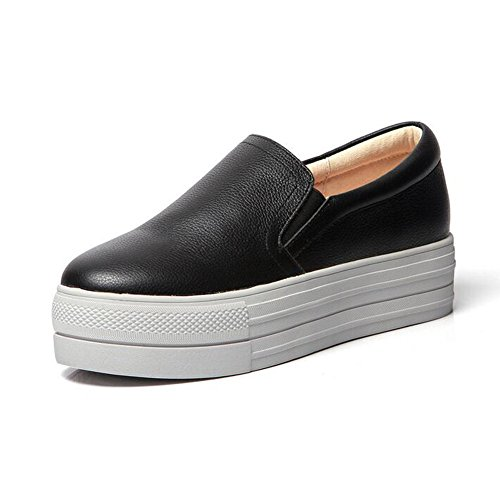 Women's Round Toe Platform Shoes Korean Casual Loafers Black - 3