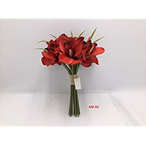 Smart Sense Amaryllis Artificial Red Flowers Bunch Bouquet Arrangements for Home Kitchen Living Room Dining Table Wedding Centerpieces Decorations 56
