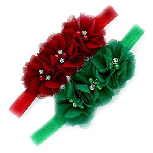 My Lello Girls Flower Headbands Toddler Fabric Beaded Trio Stretchy Elastic Pair (Red/Green)