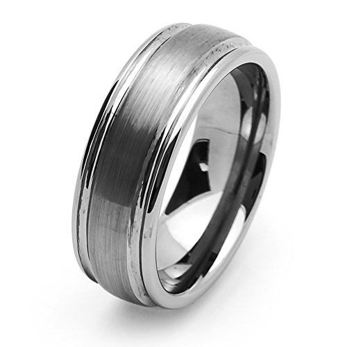 Double Accent 8MM Comfort Fit Tungsten Carbide Wedding Band High Polish Ridged Edge Flat Brushed Center Tunsten Ring (5 to 15), (Flat Edge Polish)