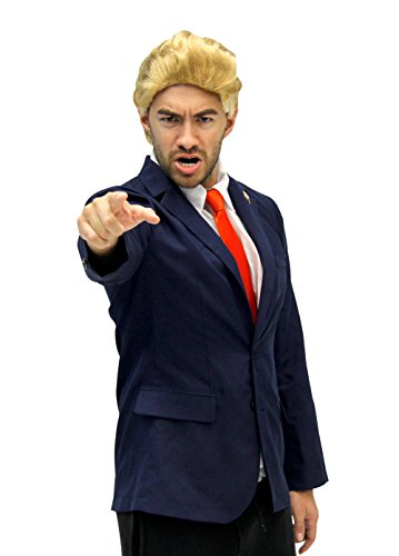 Costume Agent Men's Trump Costume Jacket, Tie, Wig and Pin, Multicoloured, Small/Medium ()