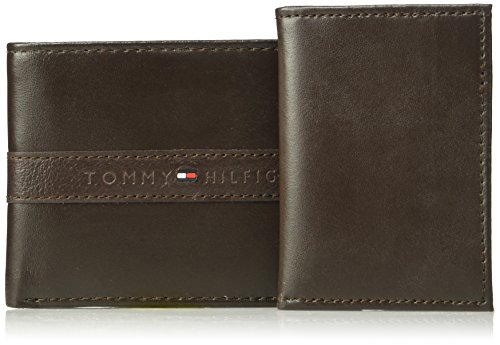 Tommy Hilfiger Men's RFID Blocking 100% Leather Ranger Passcase Wallet, Brown