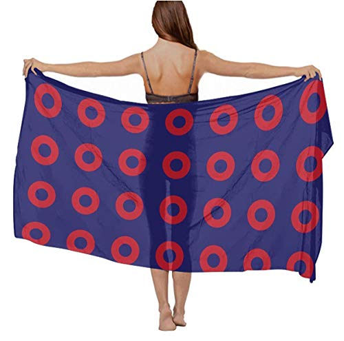 Cashmere Feel Scarf Summer Elegant Oversized Neck Wrap - Phish Red Donut Circles On Blue for Bridal Travel Vacasion, Beach Evening Party Chiffon Cape, 70.8 x 39 inch]()