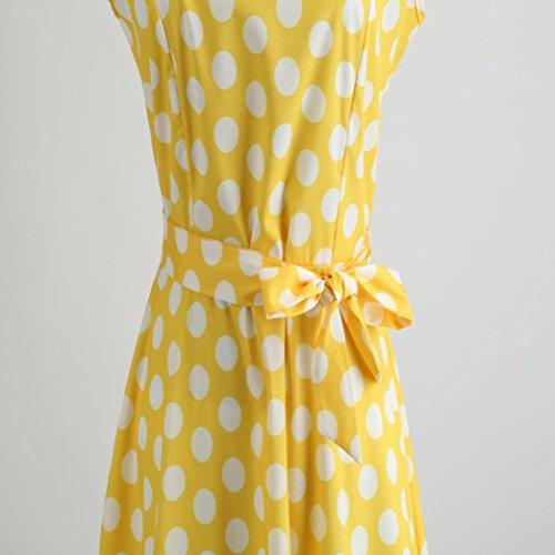 OverDose Hetburn Pois Soire de Manches Femme Vichy Promo de Dress Bal Sexy Femme Rtro jaune OverDose Vintage Carreaux Pois Patineuse Robes Robe Audrey Courte Sans qIIgrw