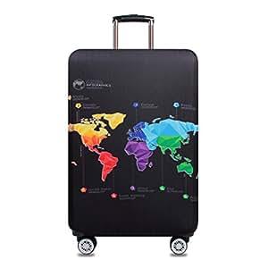 Spandex Viajar Equipaje Funda De Maleta Elástico Funda Protectora de Maleta protectora cubierta (Mapa de viajes, S)