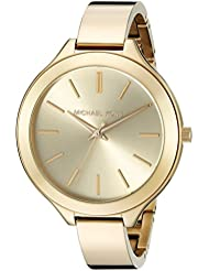 Michael Kors Womens Slim Runway Gold-Tone Watch MK3275