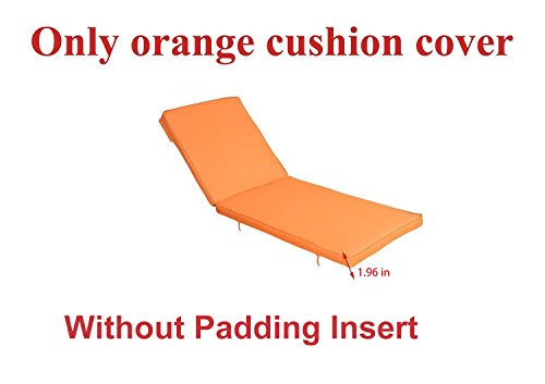 Do4U Adjustable Patio Furniture Rattan Wicker Chaise Lounge Chair Cushion cover (1 Pcs Orange cushion cover)