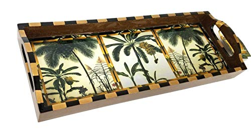 Decoupage Serving Tray - Annie Modica Palm Serving Bar Tray 21 x 8