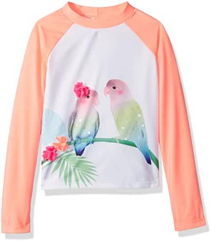 Gymboree Big Girls' Long Sleeve Lovebird Coral Rashguard Top
