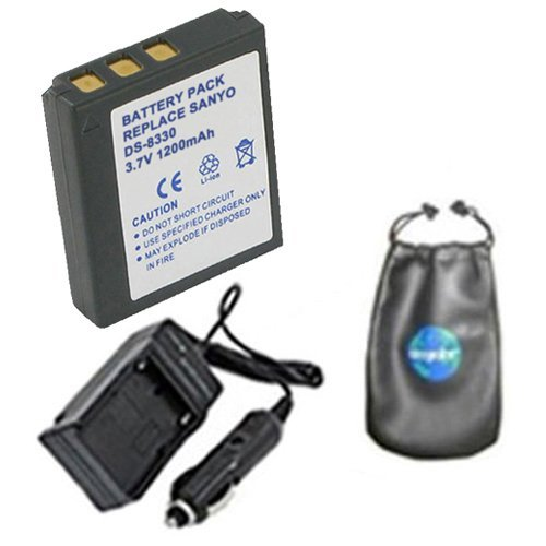 amsahr Digital Replacement Digital Camera and Camcorder Battery PLUS Mini Battery Travel Charger for Sanyo DS8330, DS-8330, VPC-E1000, VPC-W800 - Includes Lens Accessories Pouch (Lens Sanyo Plastic)