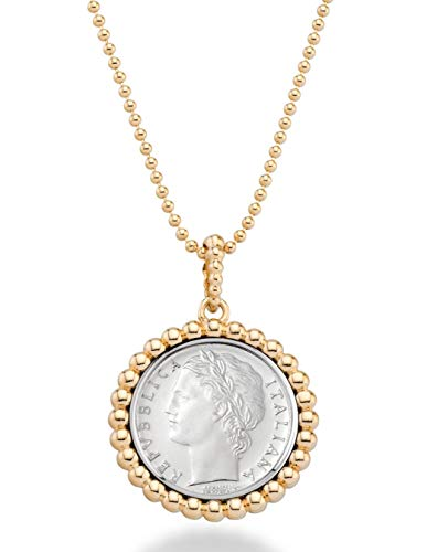 - MiaBella 18K Gold Over 925 Sterling Silver Genuine Italian 100 Lira Coin Pendant Beaded Necklace 18 Inch Bead Chain Jewelry for Women Girls