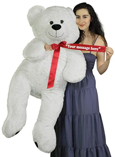 Personalized Giant White Teddy Bear 52 Inch Soft Big Plush Animal, Your Message Customized on Red Satin Neck Ribbon Bow 4' White Teddy Bear