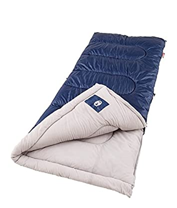 Coleman Sleeping Bag Cold Weather 40 To 20 Degrees With Coletherm Insulation For Adult 75 Long 33 Wide Camping Gear Survival Kit Lightweight Stay Warm Cozy Polyester Cover Blue Rectangle Shape