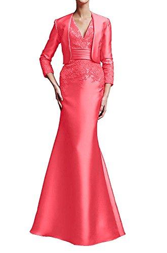 1 Brautmutterkleid Etui mit Damen Neu Promkleid V Abendkleid Bolero Applikation Ivydressing bodenlang Neck aermellos 2017 Wassermelone Satin SqHwR1F
