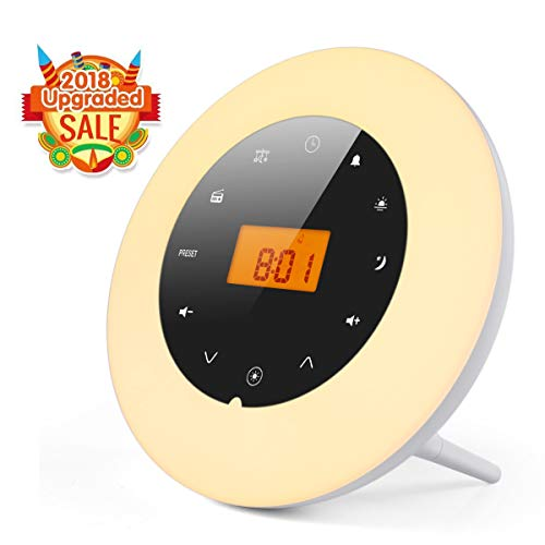 Wake-Up Light Alarm Clock, MOSCHE 2018 All-New Sunrise Alarm Clock for Heavy Sleepers Digital LED Clock Soft 8 Color Lights Switch All-Touch Simple Operation Brightness Dimmer, Sleeping Mode & Snooze