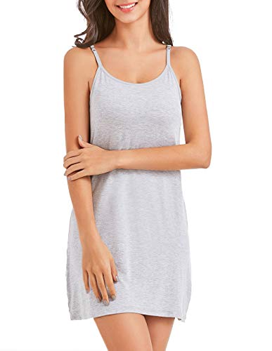 Camisole Dress for Women with Built in Bra Adjustable Strap Mini Cami Tank Dress Healthy Grey 2XL ()