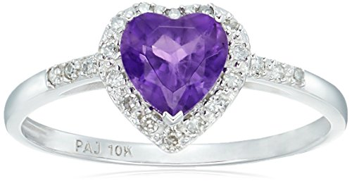 10k White Gold Genuine African Amethyst and Diamond Heart Halo Ring, Size 7
