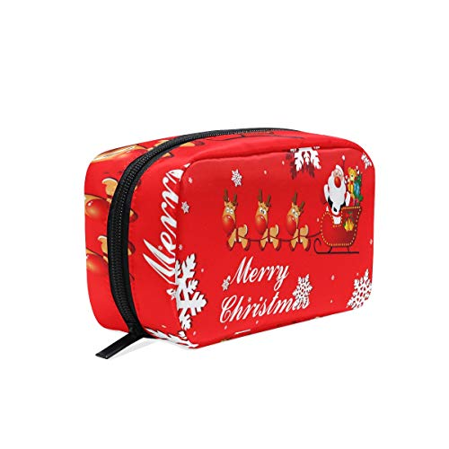 (Cosmetic Bag Animated Christmas Clipart Happy Customized Makeup Bags Square Organizer Portable Pouch Pencil Storage Case for Women/Girls)