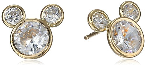 Disney 14k Gold Cubic Ziconia Stud Earrings Diva Yellow Gold Round Ring