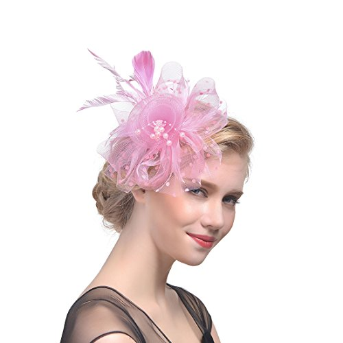 Xflyee Fascinators Hat Flower Mesh Ribbons Feathers Tea Party Cocktail Headband for Girls and Women (Pink / 7 Inch Diameter)