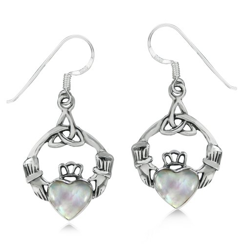 (White Mother of Pearl (MOP) 925 Sterling Silver Triquetra Celtic Knot Claddagh Dangle)
