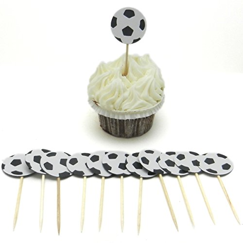 Soccer Ball Cupcake Topper 12 pack Soccer Birthday Party Cake Topper Sport Soccer Party Soccer Team Party Soccer Baby Shower -