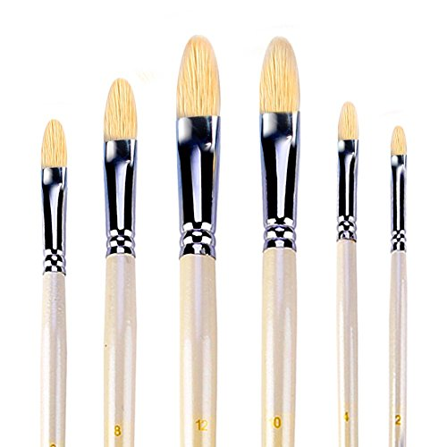 Filbert Brushes for Acrylic Oil Watercolor by Amagic 6 Pcs Artist Face and Body Professional Painting Kits with Hog Bristle Tips ()