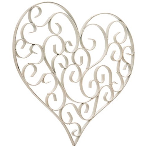 Scroll Heart (Distressed White Swirly Heart Metal Wall Decor)