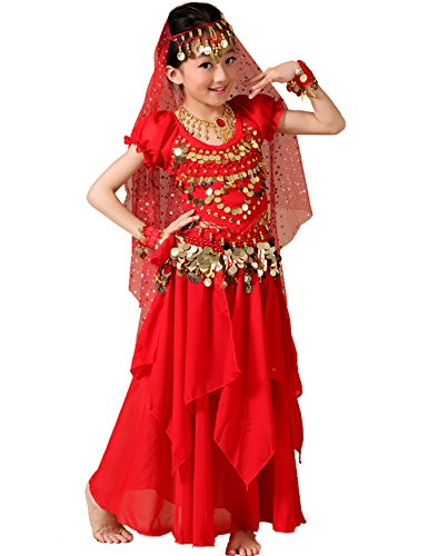 Astage Girls Princess Costume Halloween Dance Sets Red 7-8 Years -