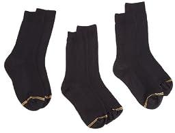 Gold Toe Big Boys\'3 Pack Microfiber Dress Crew Sock, Black, Large