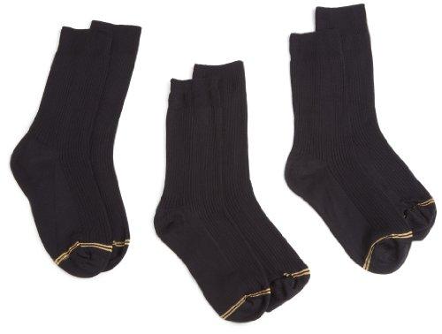 Gold Toe Big Boys'3 Pack Microfiber Dress Crew Sock, Black, Large