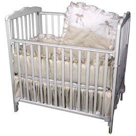Babydoll Pretty Pique Porta Crib Set, Ecru