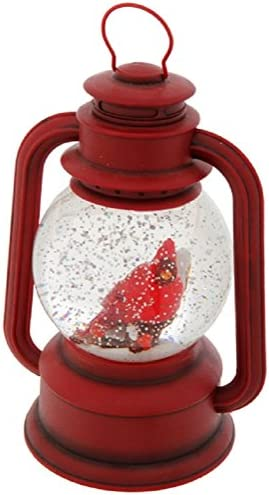 Raz Imports 9.5 Red Lighted Lantern with Cardinal Bird in Continuous Swirling Glitter Snowglobe Decor, 9.5 Inch, Battery Operated