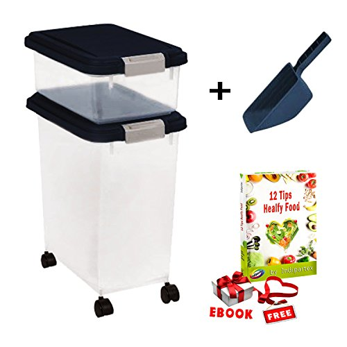Extra Large Dog Food Container Combo Set with Casters and Airtight Lead Plus 2-Cup Scoop Review