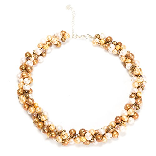Handmade Silk Thread Gold Natural Cultured Freshwater Pearl Cluster Bead Necklace, 16-18 (Gold Freshwater Pearl Cluster)