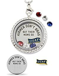 Perfect US Air Force Gift, American Flag Heart Floating Charm Living Memory Locket Magnetic Closure 30mm Stainless Steel Pendant Necklace