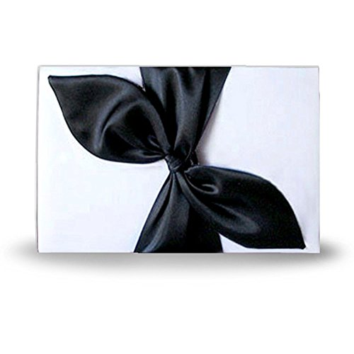 SACASUSA ( ™ ) Elegant White Bridal Wedding Reception Guest Book with Black Satin Bow