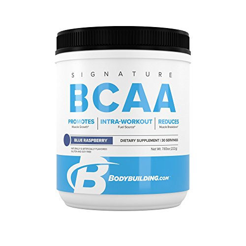 BodyBuilding.Com Signature BCAA Powder | Essential Amino Acids | Nutrition Supplement | Promote Muscle Growth and Recovery | 30 Servings, Blue Raspberry