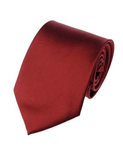 Men's Smooth Satin Solid Color Extra Long XL Necktie, (Crimson Necktie)