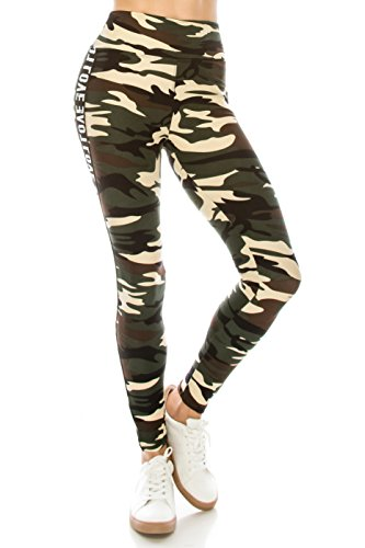 ALWAYS Legging Women Track Pants - Premium Soft Stretch Buttery Camo Print Love Elastic Band 57 One Size by ALWAYS (Image #2)