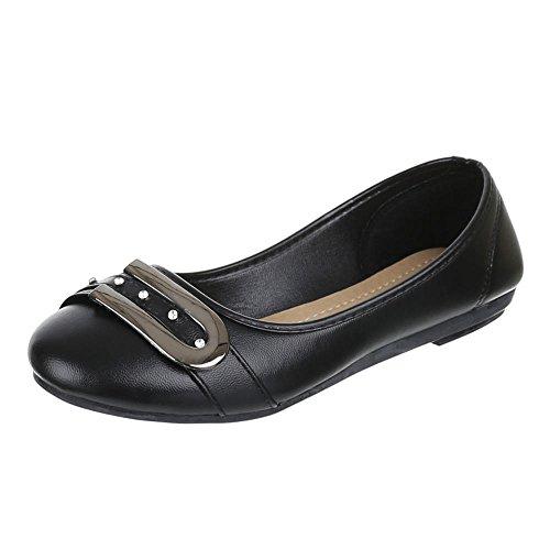 Ital-Design Damen Schuhe, H-15, Ballerinas Strass BESETZTE Pumps Schwarz