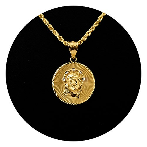 MR. BLING 10K Yellow Gold Jesus Head Medallion Charm Pendant (1.26